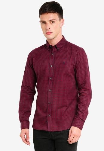 Burton Menswear London 紅色 長袖格紋牛津襯衫 09E75AABE96829GS_1