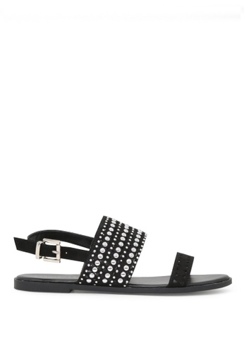 London Rag 黑色 夏季柳丁搭扣黑色平底凉鞋 F8981SHB1E1E74GS_1