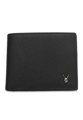 Playboy black Genuine Leather Rfid Short Wallet AC398ACEADC1A7GS_1