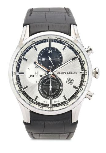 Alain Delon black Alain Delon AD406-1312C Black and Silver Watch AL308AC0RBE4MY_1