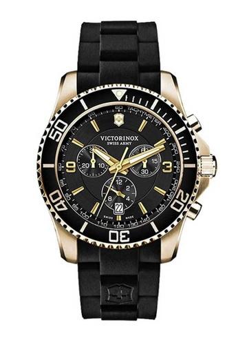 Victorinox Swiss Army black Victorinox Swiss Army Maverick Gold and Black Rubber Watch 52F7CAC5EB9421GS_1