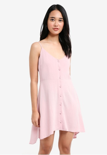 TOPSHOP pink Petite Button Asymmetric Mini Dress F261BAAAB3AFEAGS_1