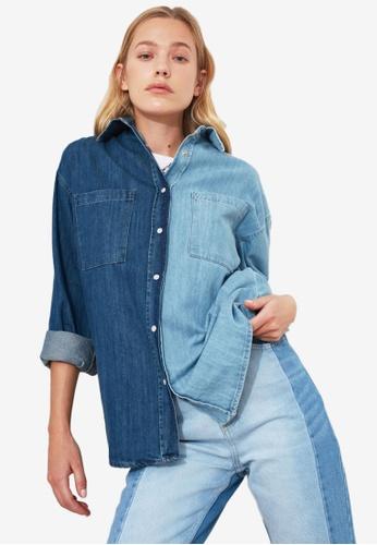 Trendyol blue Colour Block Denim Shirt 85BD1AA56AFA3FGS_1