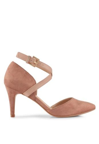 ZALORA beige Cross Strap Ankle Heels D7940SHA248EC1GS_1