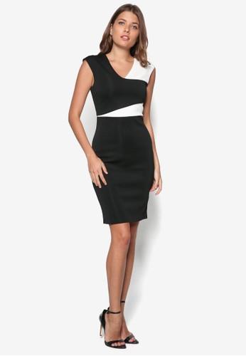 色塊鉛筆洋zalora taiwan 時尚購物網鞋子裝, 服飾, 洋裝