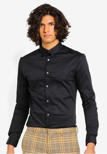 River Island 黑色 Shirt Ls Blk Muscle Poplin 2B851AA5DF657BGS_1