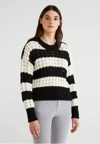 United Colors of Benetton black Striped Knit Sweater CF42FAA5D864E5GS_1
