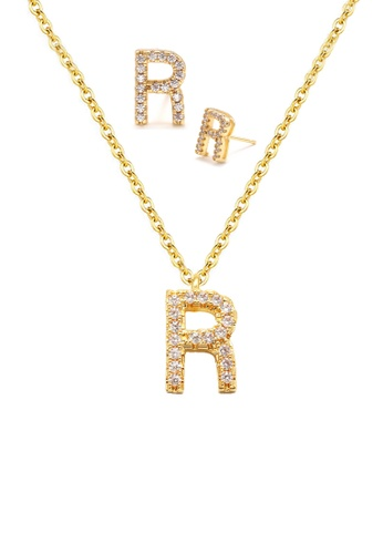 """Atrireal gold ÁTRIREAL - Initial """"R"""" Necklace + Earrings Jewellery Set in Gold C9BD7ACD94F2A3GS_1"""