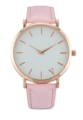 NUVEAU pink Round Face Gold White/Pink Strap Watch NU245AC0SBINMY_1