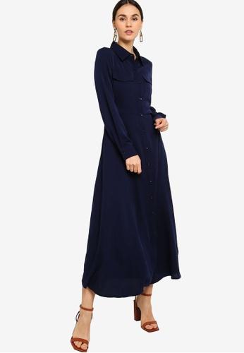 ZALORA navy Long Sleeves Maxi Shirt Dress 61F25AABC14C42GS_1