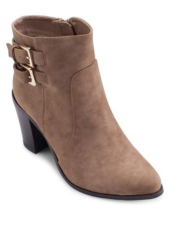 Iylesprit 折扣a 雙扣環麂皮粗跟低筒靴, 女鞋, Tomboy Chic