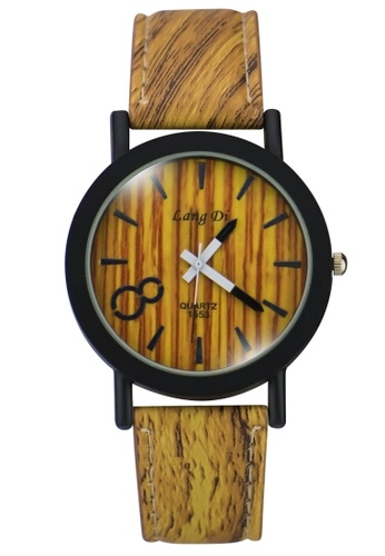 Dooka brown Lang Di  Leather Strap Watch WD889 GE088AC98PKBPH_1
