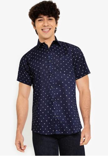 Fidelio navy Microprinted Short Sleeves Shirt F3E58AA47BA189GS_1