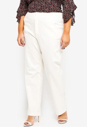 Ex'otico white Plus Size Basic Trouser 65983AABF2C867GS_1