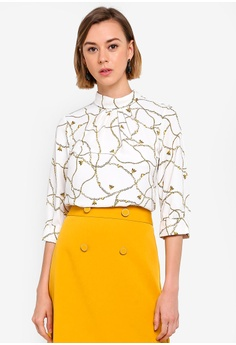 76523aa3 Dorothy Perkins white Ivory Bee Chain Print Roll Neck 3/4 Sleeve Blouse  68003AAB0E62D2GS_1