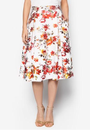 花卉圖案及膝短裙, 服飾, zalora 衣服評價服飾