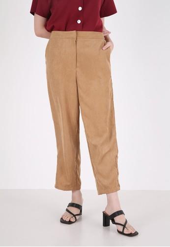 Sorabel brown Pike Button Long Pants Brown 373CDAADED4CD6GS_1