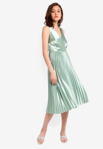 ceb78d341e69 Dorothy Perkins green Luxe Sage Satin Pleated Skater Dress  187D2AA2CDA506GS_1