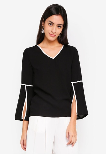 ZALORA black and white Open Sleeves V-Neck Top F697AAAD217962GS_1