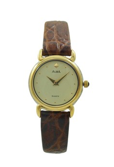 Image of ALBA Jam Tangan Wanita - Brown Gold - Leather Strap - ATA92H
