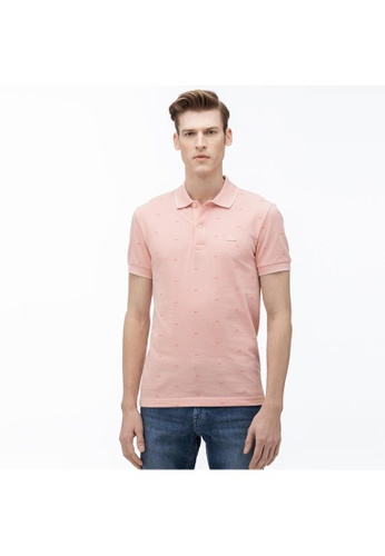 Lacoste pink Lacoste Men's Lacoste Micro Print Polo Shirt 2E634AA8DE7F03GS_1