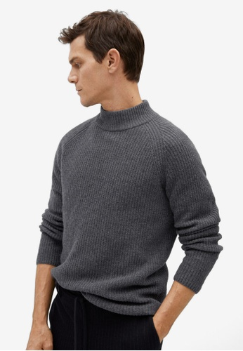 Mango Man grey Structured Wool Sweater 5C9C8AA2703521GS_1