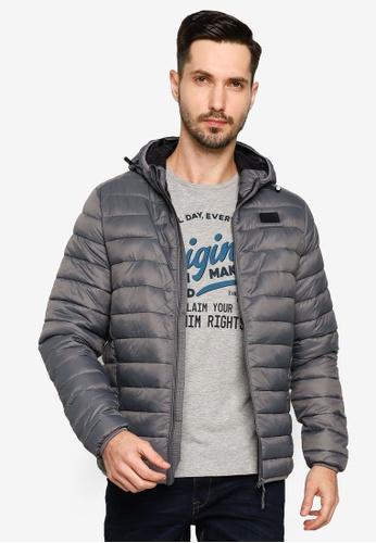 BLEND grey Basic Hooded Puffer Jacket 9B86FAAA65F9D4GS_1