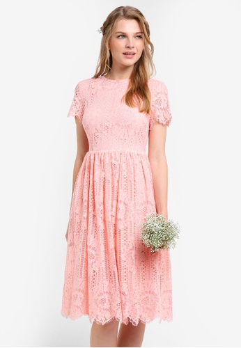 ZALORA pink Bridesmaid Open Back Midi Fit & Flare Dress F4F9BAA1ADAC46GS_1