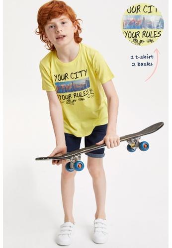 DeFacto yellow Boy Knitted Short Sleeve T-Shirt B74A7KA6E03DFDGS_1