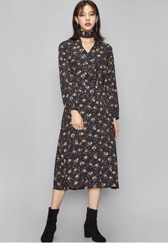 淑女印花連衣裙, 服飾,esprit hk store 及膝洋裝