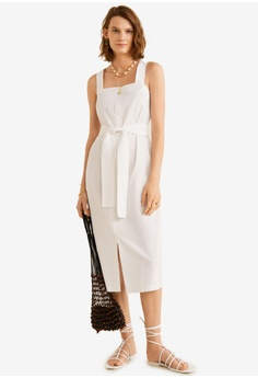 dfc1785d5be2 Mango white Linen Strap Dress 7B28DAAC9B3407GS_1