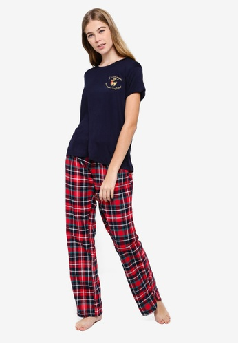 Chelsea Peers multi Christmas Sugar Check Pyjama Set E3EEEAA5F27DD7GS_1