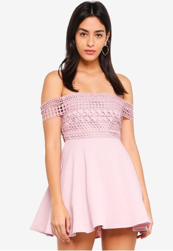 MISSGUIDED pink Petite Lace Strap Bardot Skater Dress 18159AA4D9299EGS_1