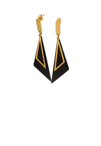 Glamorousky silver Fashion Personality Plated Gold Geometric Black Triangle 316L Stainless Steel Earrings BCF8AAC3BB1257GS_1