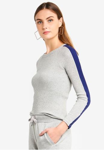 ONLY grey Ida Long Sleeve Panel Pullover 318EDAA9516A56GS_1