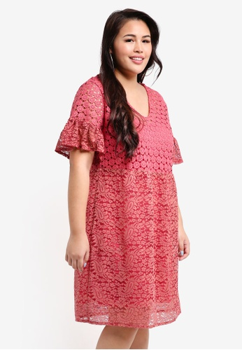 Plus Size Smock Dress In Mixed Lace
