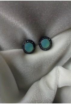 black turquoise small stud earrings