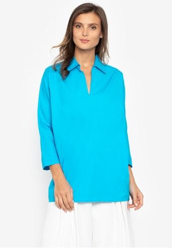 N Natori blue Long Sleeves Blouse FDC9DAACD9D1A7GS_1