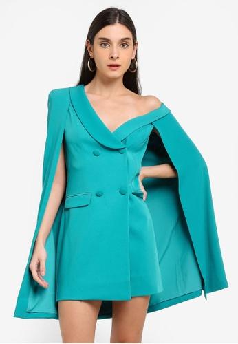 Lavish Alice green Off The Shoulder Double Breasted Cape Blazer Dress 9C046AA0CCA4E2GS_1