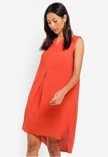ZALORA BASICS orange Basic Notch Neck Straight Shift Dress E9AC7AA54D674DGS_1