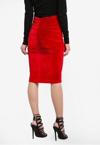 Miss Selfridge red Velvet Ruched Back Skirt MI665AA0SHVDMY_1