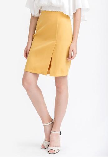 Kodz yellow Minimal Mini Skirt 6FDD3AA2D4FB7FGS_1