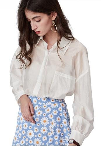 HAPPY FRIDAYS white Chic Style Pocket See-Through Shirt JW VY-W2112011 5DA29AA2355F6BGS_1