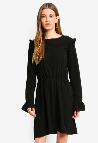 Brave Soul black Black Dress With Pleat And Ruffle Detail Across The Bust And Sleeve 38D17AA2146EA7GS_1