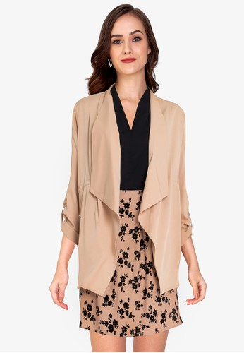 ZALORA WORK brown Waterfall Rolled Up Sleeves Jacket 806E7AA875D15AGS_1