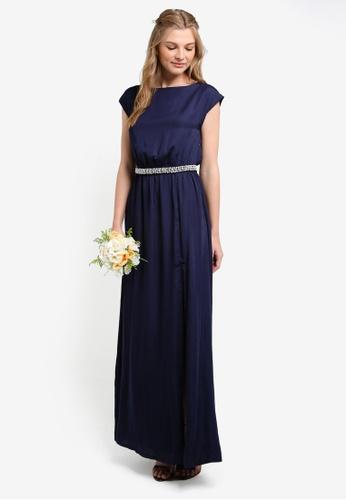 ZALORA navy Bridesmaid Maxi Dress With Embellished Waistband 229ADAA5ECE10CGS_1