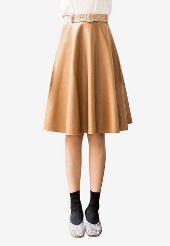 Tokichoi brown Faux Leather Skater Skirt 81FF1AA5116851GS_1