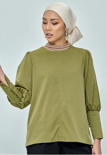MC Vogue green Olive Green Button Puff Sleeve Top E1E60AAA6E49E1GS_1