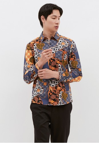 YEGE purple YEGE Long Sleeve Batik Print Shirt 2017 7D8FDAA5F0CB2CGS_1