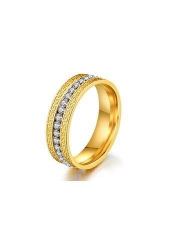 ADORA Stainless Steel Zircon Gold Ring AD365AC2VQA6HK_1